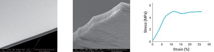 Figure 2 a, b) SEM image of the PLGA coating c) stress/strain deformation curve.